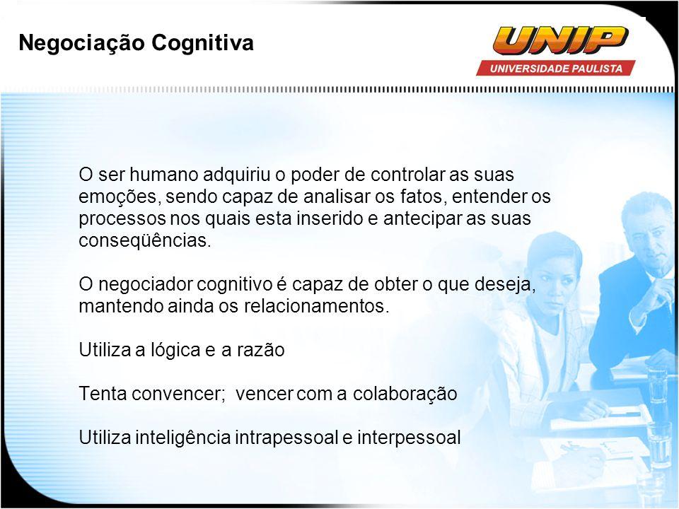Negociação Cognitiva O ser humano adquiriu o poder de controlar as suas emoções, sendo capaz de analisar os fatos, entender os processos nos quais est