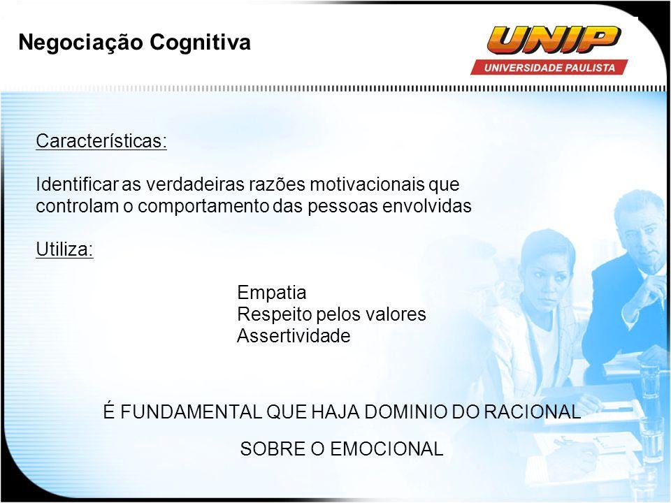 Negociação Cognitiva Características: Identificar as verdadeiras razões motivacionais que controlam o comportamento das pessoas envolvidas Utiliza: Em