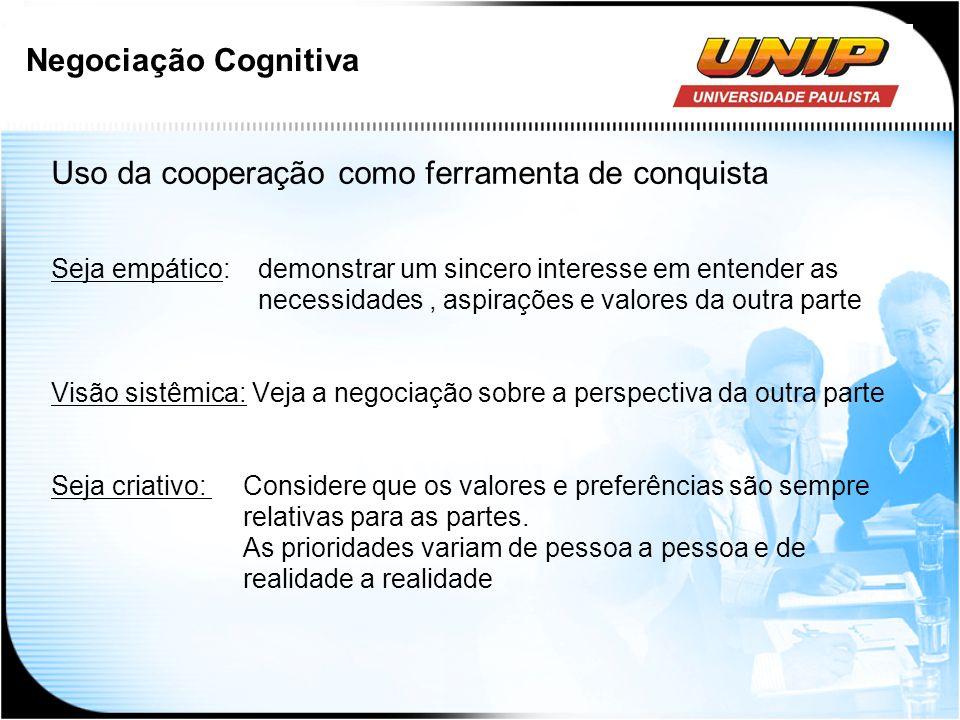 Negociação Cognitiva Uso da cooperação como ferramenta de conquista Seja empático: demonstrar um sincero interesse em entender as necessidades, aspira