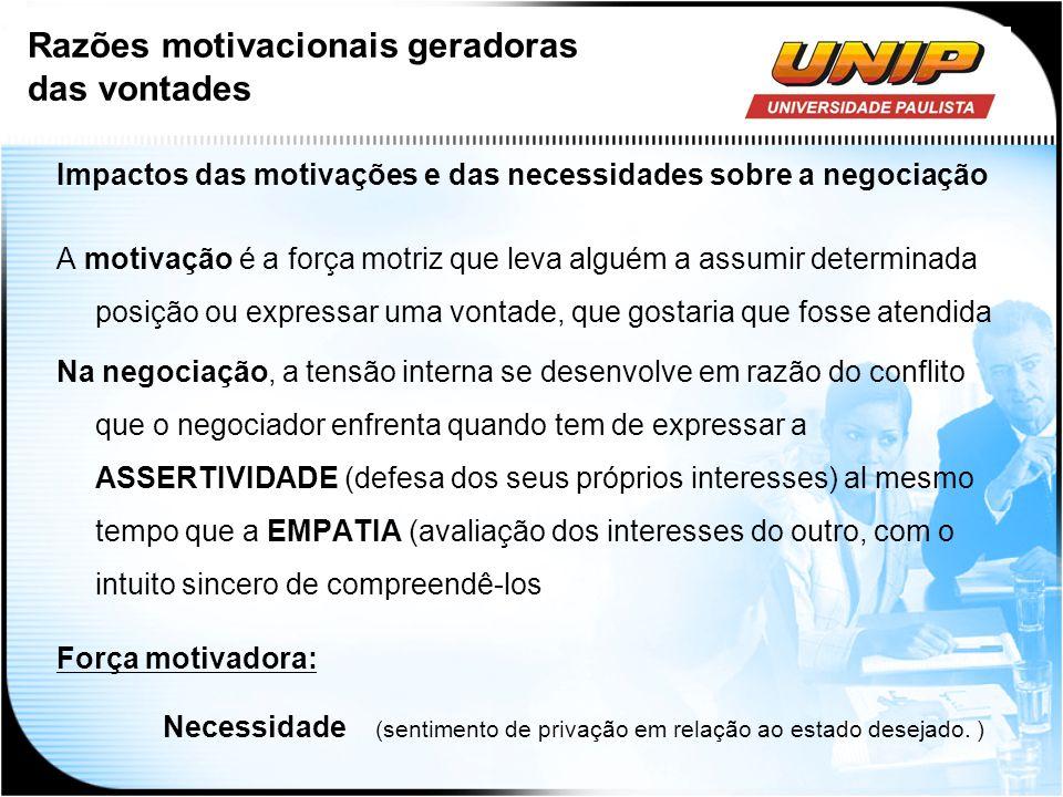 Impactos das motivações e das necessidades sobre a negociação A motivação é a força motriz que leva alguém a assumir determinada posição ou expressar