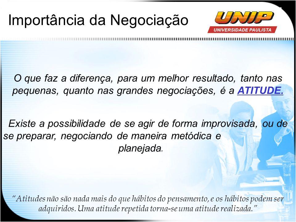 Importância da Negociação O que faz a diferença, para um melhor resultado, tanto nas pequenas, quanto nas grandes negociações, é a ATITUDE. Existe a p