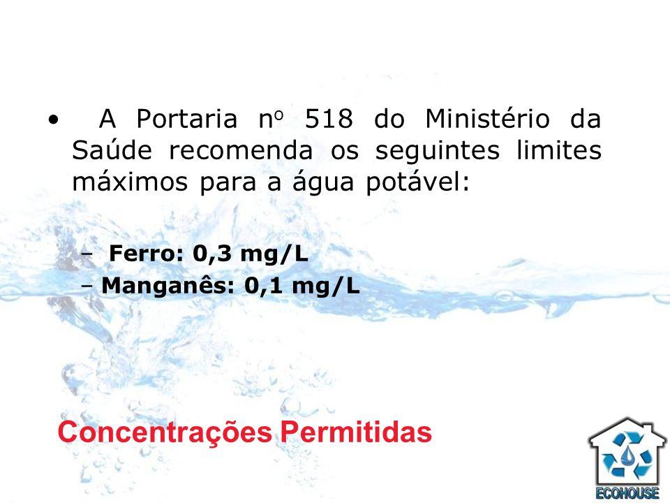 A Portaria n o 518 do Ministério da Saúde recomenda os seguintes limites máximos para a água potável: – Ferro: 0,3 mg/L –Manganês: 0,1 mg/L Concentraç