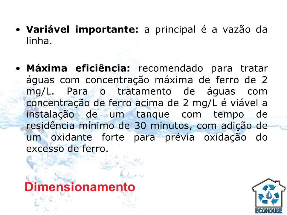 Variável importante: a principal é a vazão da linha. Máxima eficiência: recomendado para tratar águas com concentração máxima de ferro de 2 mg/L. Para