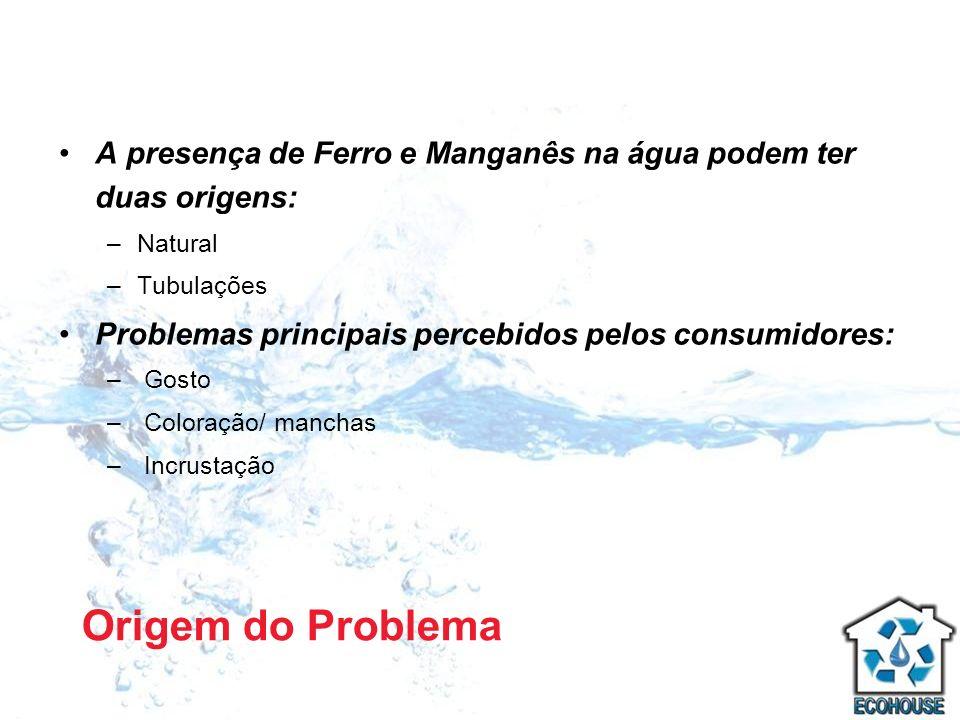 A presença de Ferro e Manganês na água podem ter duas origens: –Natural –Tubulações Problemas principais percebidos pelos consumidores: – Gosto – Colo