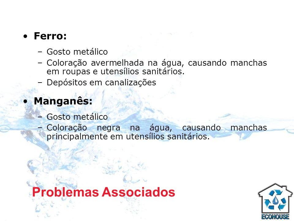 Ferro: –Gosto metálico –Coloração avermelhada na água, causando manchas em roupas e utensílios sanitários. –Depósitos em canalizações Manganês: –Gosto