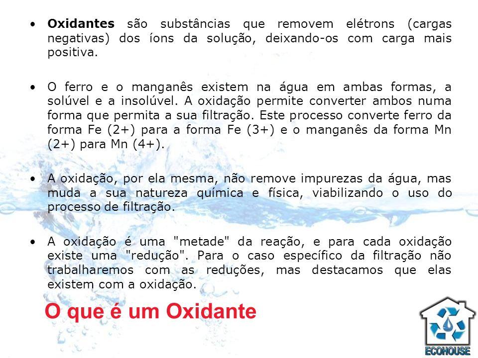 Oxidantes são substâncias que removem elétrons (cargas negativas) dos íons da solução, deixando-os com carga mais positiva. O ferro e o manganês exist