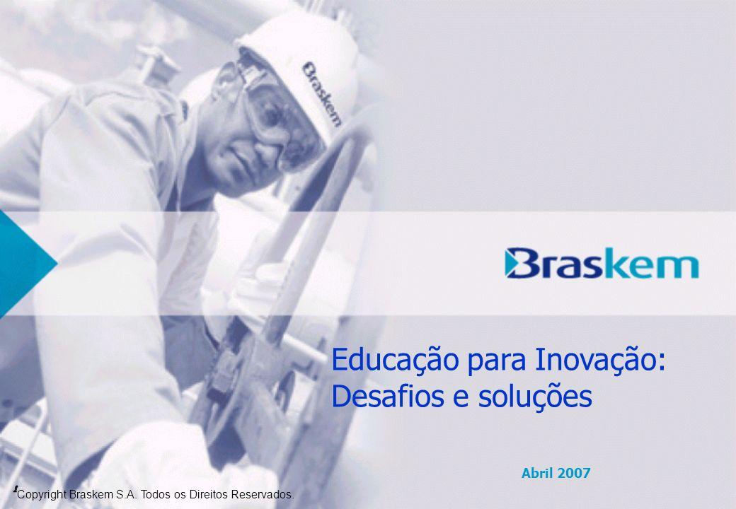Copyright Braskem S.A. Todos os Direitos Reservados. Abril 2007 Educação para Inovação: Desafios e soluções