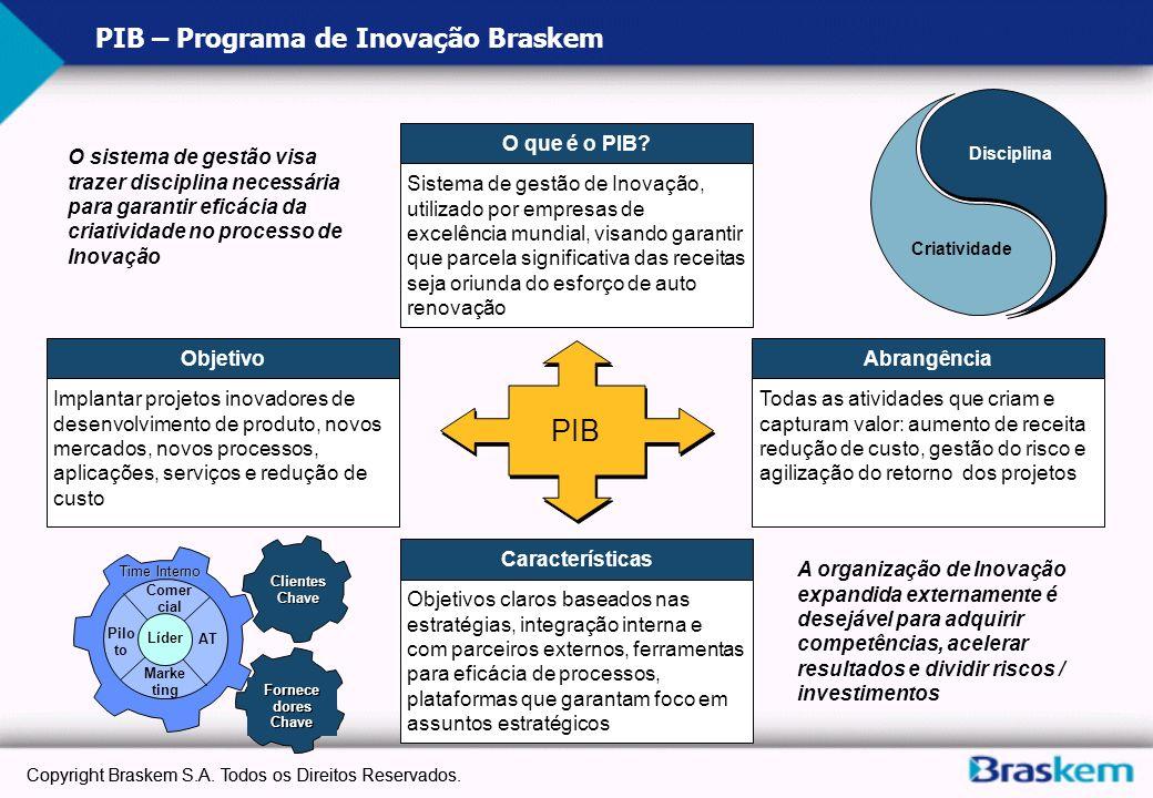 b Estrutura do Processo de Gestão GI Ameaças Oportunidades Novas Tecnologias Gerenciamento de Idéias Gerenciamento de Projetos Produtos e Serviços Gestão Estratégica do Portfolio Captura de Oportunidades Gestão de parcerias Organização Estendida Cultura Inovadora Inteligência de Mercado Atratividade AdequaçãoViabilidade Copyright Braskem S.A.