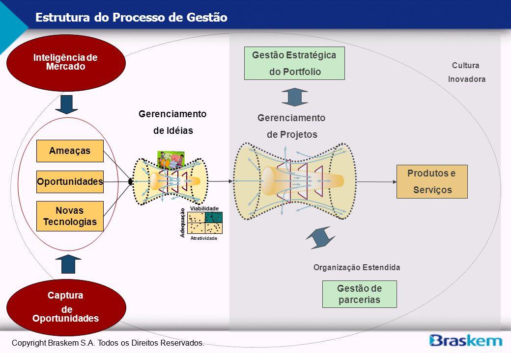 b Estrutura do Processo de Gestão GI Ameaças Oportunidades Novas Tecnologias Gerenciamento de Idéias Gerenciamento de Projetos Produtos e Serviços Ges