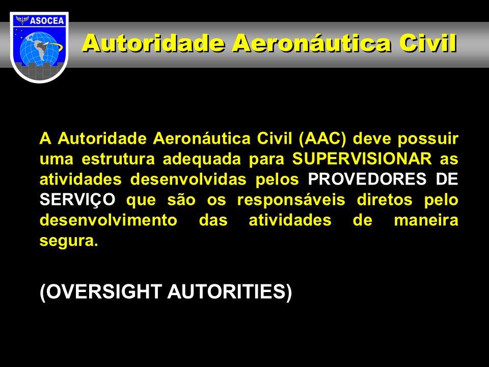 A Autoridade Aeronáutica Civil (AAC) deve possuir uma estrutura adequada para SUPERVISIONAR as atividades desenvolvidas pelos PROVEDORES DE SERVIÇO qu