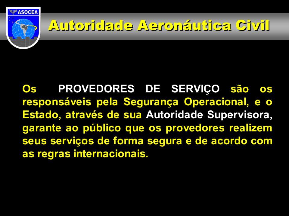 Os PROVEDORES DE SERVIÇO são os responsáveis pela Segurança Operacional, e o Estado, através de sua Autoridade Supervisora, garante ao público que os