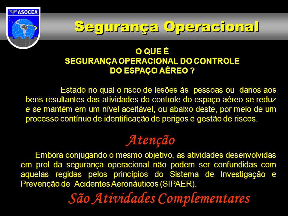 Segurança Operacional O QUE É SEGURANÇA OPERACIONAL DO CONTROLE DO ESPAÇO AÉREO ? Estado no qual o risco de lesões às pessoas ou danos aos bens result