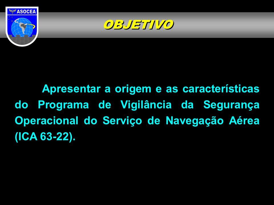 PRINCIPAL PROBLEMA ERA O CONFLITO DE INTERESSE, POIS MUITOS DOS PROVEDORES DE SERVIÇOS DE NAVEGAÇÃO AÉREA SÃO SUBORDINADOS AO DECEA SOLUÇÃO: AUDITORIA EXTERNA ASOCEA ESTÁ SUBORDINADA AO CMTAER A ASOCEA foi criada com o objetivo de realizar a vigilância da segurança operacional no controle do espaço aéreo brasileiro e foi incumbida de coordenar as ações para a auditoria da ICAO.