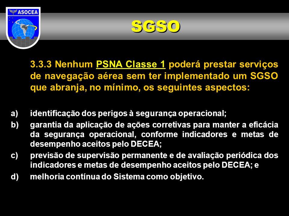 3.3.3 Nenhum PSNA Classe 1 poderá prestar serviços de navegação aérea sem ter implementado um SGSO que abranja, no mínimo, os seguintes aspectos: a)id