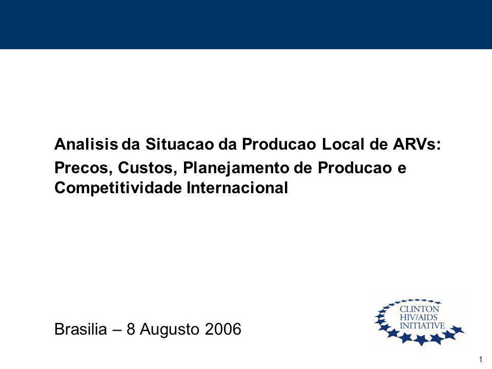 1 Analisis da Situacao da Producao Local de ARVs: Precos, Custos, Planejamento de Producao e Competitividade Internacional Brasilia – 8 Augusto 2006