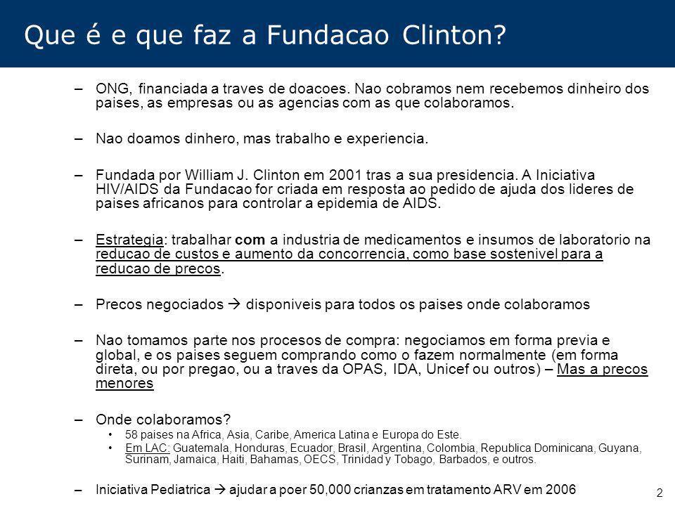 2 Que é e que faz a Fundacao Clinton? –ONG, financiada a traves de doacoes. Nao cobramos nem recebemos dinheiro dos paises, as empresas ou as agencias