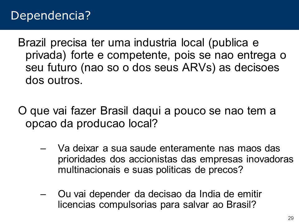 29 Dependencia? Brazil precisa ter uma industria local (publica e privada) forte e competente, pois se nao entrega o seu futuro (nao so o dos seus ARV