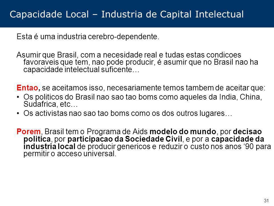 31 Capacidade Local – Industria de Capital Intelectual Esta é uma industria cerebro-dependente. Asumir que Brasil, com a necesidade real e tudas estas
