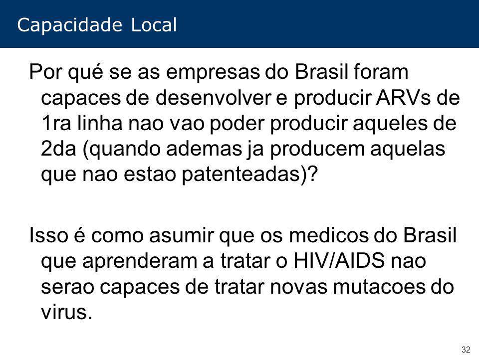 32 Capacidade Local Por qué se as empresas do Brasil foram capaces de desenvolver e producir ARVs de 1ra linha nao vao poder producir aqueles de 2da (