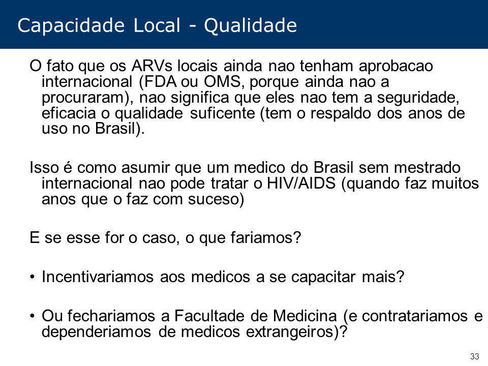33 Capacidade Local - Qualidade O fato que os ARVs locais ainda nao tenham aprobacao internacional (FDA ou OMS, porque ainda nao a procuraram), nao si