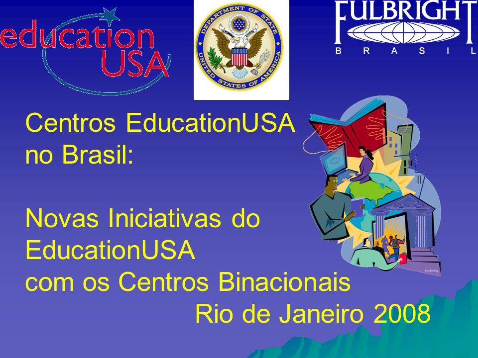 Missão do EducationUSA Promover a educação superior nos Estados Unidos e fortalecer o intercâmbio educacional internacional, oferecendo informação precisa, objetiva e sem representação em todos os níveis acadêmicos de educação superior nos Estados Unidos.