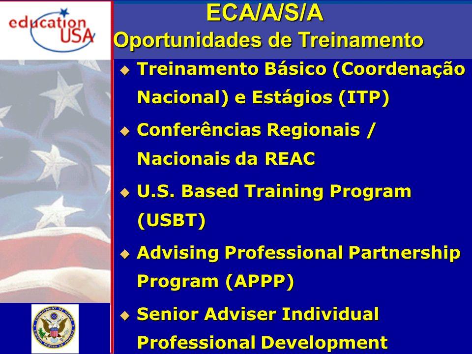ECA/A/S/A Oportunidades de Treinamento Treinamento Básico (Coordenação Nacional) e Estágios (ITP) Treinamento Básico (Coordenação Nacional) e Estágios (ITP) Conferências Regionais / Nacionais da REAC Conferências Regionais / Nacionais da REAC U.S.