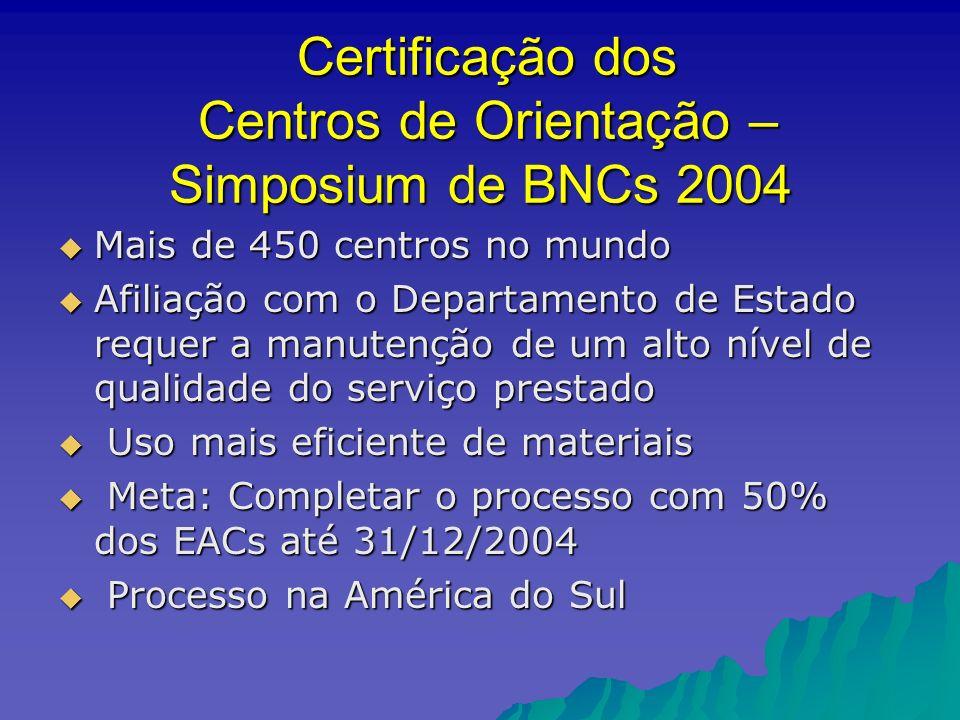 Certificação dos Centros de Orientação – Simposium de BNCs 2004 Certificação dos Centros de Orientação – Simposium de BNCs 2004 Mais de 450 centros no mundo Mais de 450 centros no mundo Afiliação com o Departamento de Estado requer a manutenção de um alto nível de qualidade do serviço prestado Afiliação com o Departamento de Estado requer a manutenção de um alto nível de qualidade do serviço prestado Uso mais eficiente de materiais Uso mais eficiente de materiais Meta: Completar o processo com 50% dos EACs até 31/12/2004 Meta: Completar o processo com 50% dos EACs até 31/12/2004 Processo na América do Sul Processo na América do Sul