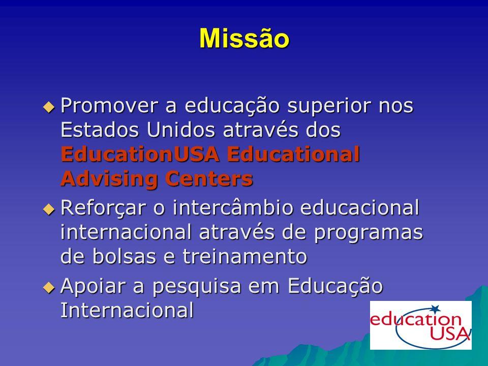 Educational Advisers Orientações em Grupo Consultas Individuais Conferências Programas de Outreach para escolas e universidades: pessoalmente e virtualmente Trabalhando com a Imprensa Orientação Virtual Oficinas sobre Tópicos Específicos Programas de Orientação Pré- partida