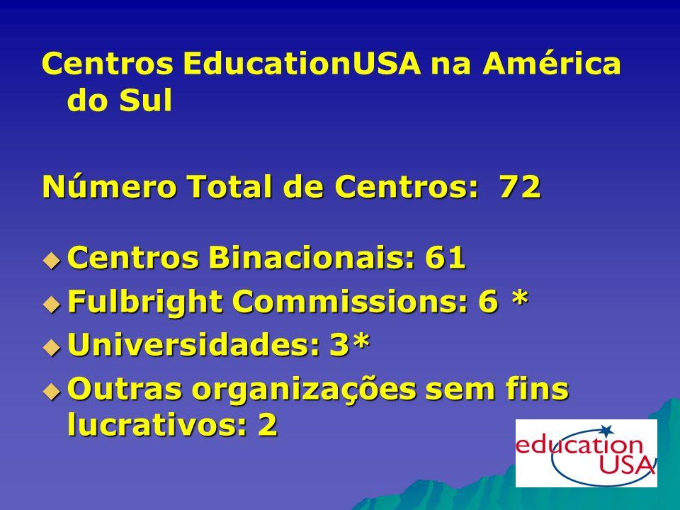 Centros EducationUSA na América do Sul Número Total de Centros: 72 Centros Binacionais: 61 Centros Binacionais: 61 Fulbright Commissions: 6 * Fulbright Commissions: 6 * Universidades: 3* Universidades: 3* Outras organizações sem fins lucrativos: 2 Outras organizações sem fins lucrativos: 2