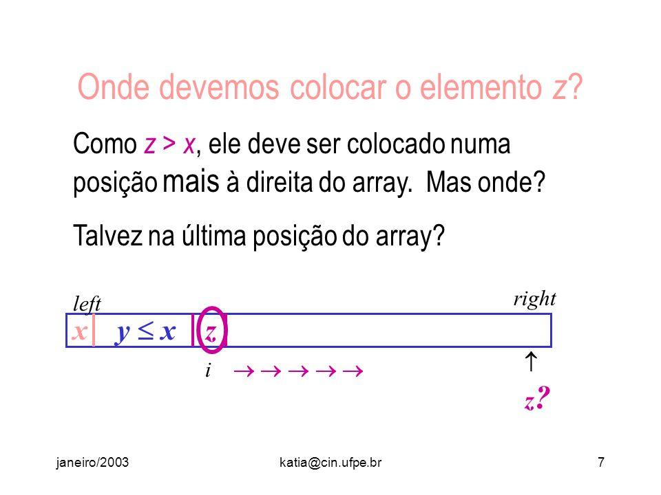janeiro/2003katia@cin.ufpe.br6 Quanto Custa Dividir? Em seguida, vamos começar a inspecionar o array pela esquerda, prosseguindo enquanto o elemento y