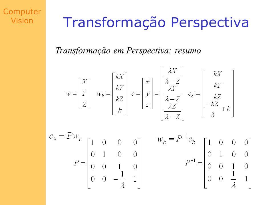 Computer Vision Transformação Perspectiva Transformação em Perspectiva: resumo