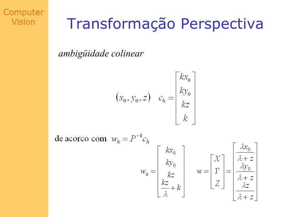 Computer Vision Transformação Perspectiva ambigüidade colinear