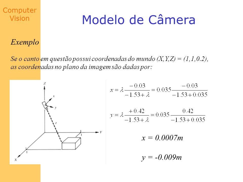 Computer Vision Modelo de Câmera Exemplo Se o canto em questão possui coordenadas do mundo (X,Y,Z) = (1,1,0.2), as coordenadas no plano da imagem são