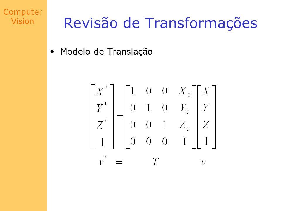 Computer Vision Calibração de Câmera Se K = 1 na representação homogênea: