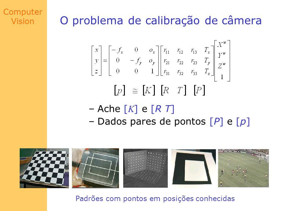 Computer Vision O problema de calibração de câmera –Ache [ K ] e [R T] –Dados pares de pontos [P] e [p] Padrões com pontos em posições conhecidas