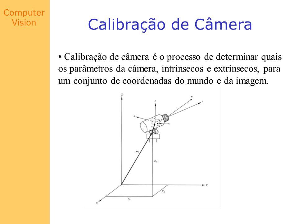 Computer Vision Calibração de Câmera Calibração de câmera é o processo de determinar quais os parâmetros da câmera, intrínsecos e extrínsecos, para um