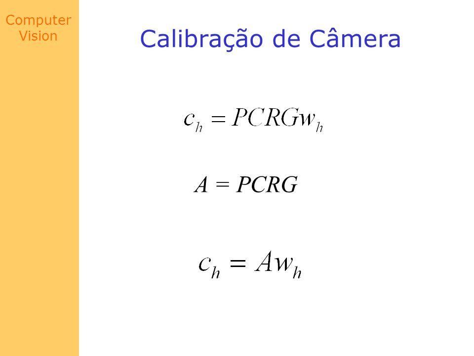 Computer Vision Calibração de Câmera A = PCRG