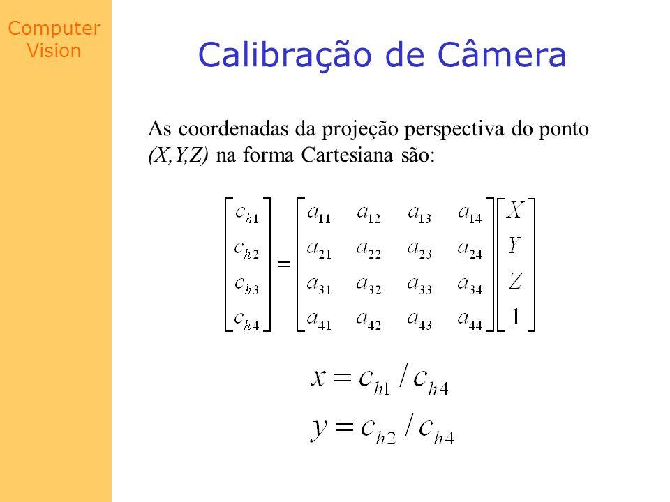 Computer Vision Calibração de Câmera As coordenadas da projeção perspectiva do ponto (X,Y,Z) na forma Cartesiana são: