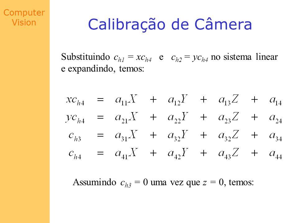 Computer Vision Calibração de Câmera Substituindo c h1 = xc h4 e c h2 = yc h4 no sistema linear e expandindo, temos: Assumindo c h3 = 0 uma vez que z