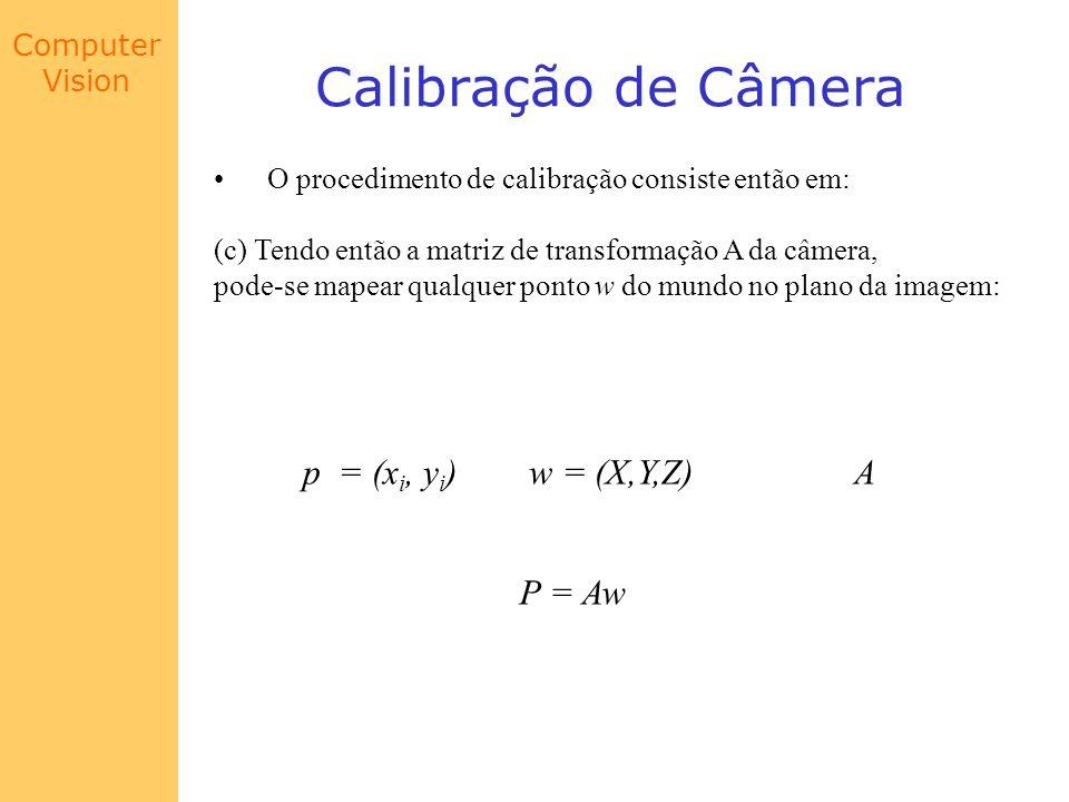 Computer Vision Calibração de Câmera O procedimento de calibração consiste então em: (c) Tendo então a matriz de transformação A da câmera, pode-se ma