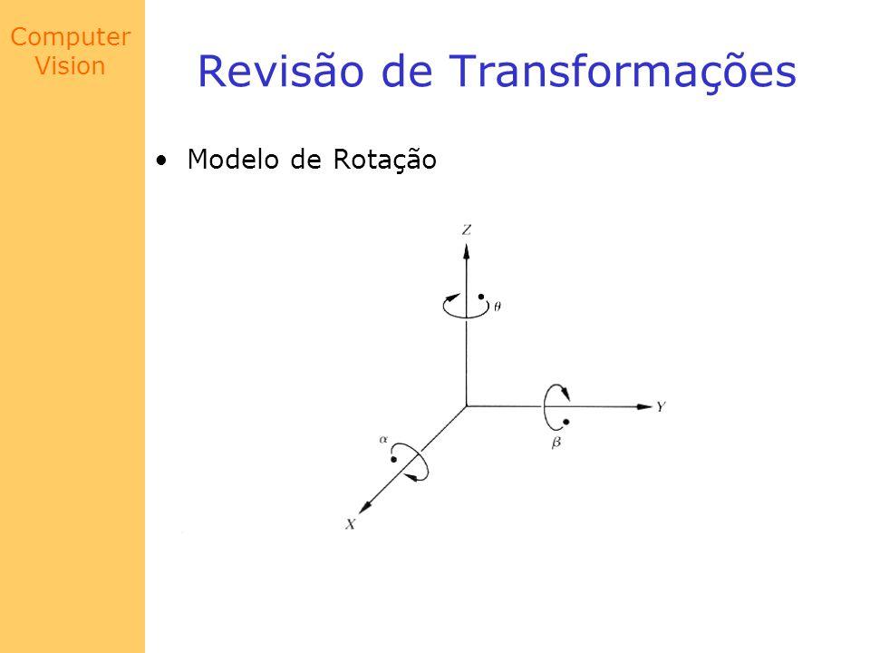 Computer Vision Modelo de Câmera Para alinhar o plano da imagem (x,y) com o plano em coordenadas do mundo (X,Y), pode-se fazer a seguinte seqüência de passos: 1.Translação do suporte para origem, G 2.Rotação no eixo x, 3.Rotação no eixo z, 4.Translação do plano da imagem com relação ao suporte, C