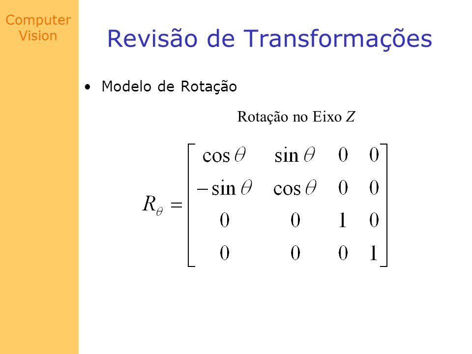 Computer Vision Modelo de Câmera Exemplo Se o canto em questão possui coordenadas do mundo (X,Y,Z) = (1,1,0.2), as coordenadas no plano da imagem são dadas por: x = 0.0007m y = -0.009m