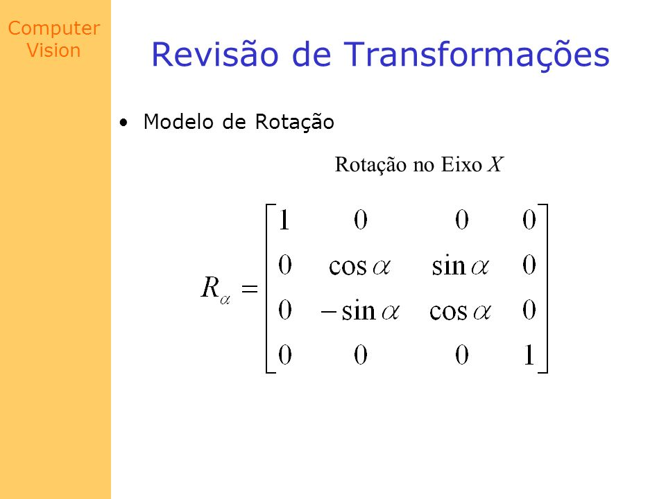 Computer Vision Revisão de Transformações Modelo de Rotação Rotação no Eixo Y
