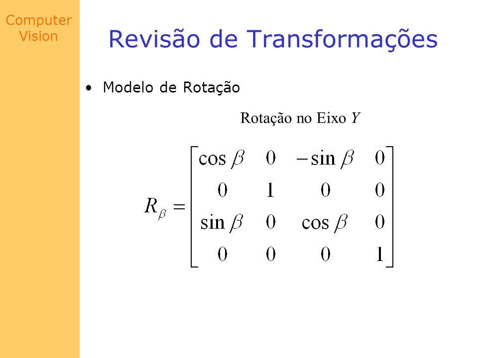 Computer Vision Calibração de Câmera O procedimento de calibração consiste então em: (b) Resolver o Sistema Linear para obter os pontos correspondentes na imagem (x i, y i ), i = 1, 2,..., m.