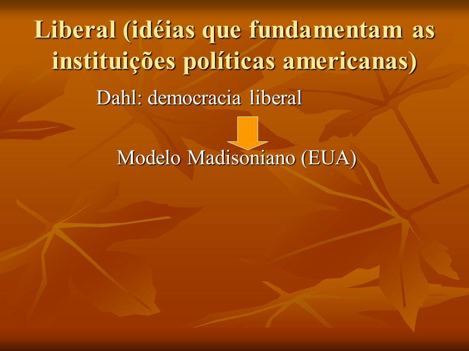 Liberal (idéias que fundamentam as instituições políticas americanas) Dahl: democracia liberal Dahl: democracia liberal Modelo Madisoniano (EUA) Model