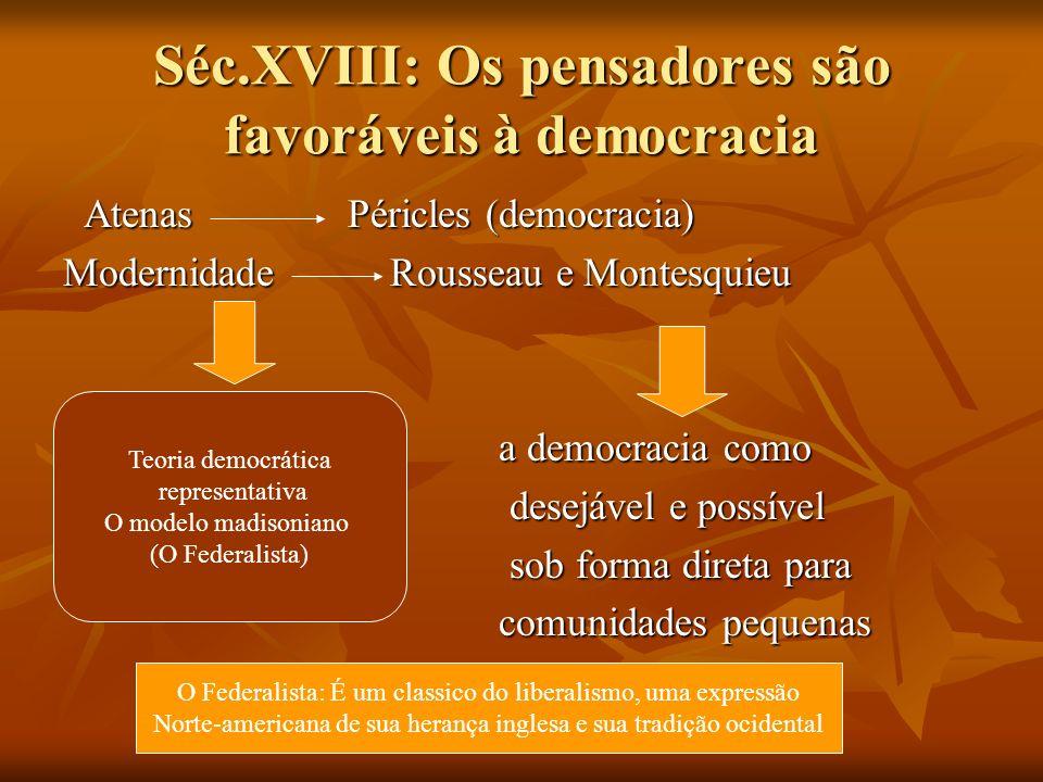 Séc.XVIII: Os pensadores são favoráveis à democracia Atenas Péricles (democracia) Atenas Péricles (democracia) Modernidade Rousseau e Montesquieu a de