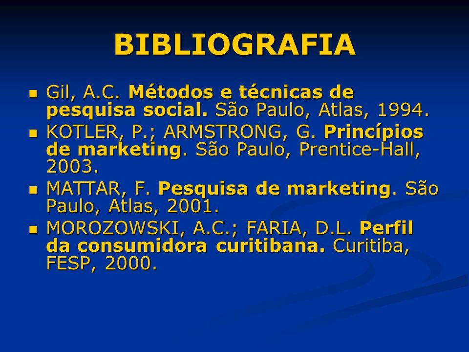 BIBLIOGRAFIA Gil, A.C. Métodos e técnicas de pesquisa social. São Paulo, Atlas, 1994. Gil, A.C. Métodos e técnicas de pesquisa social. São Paulo, Atla