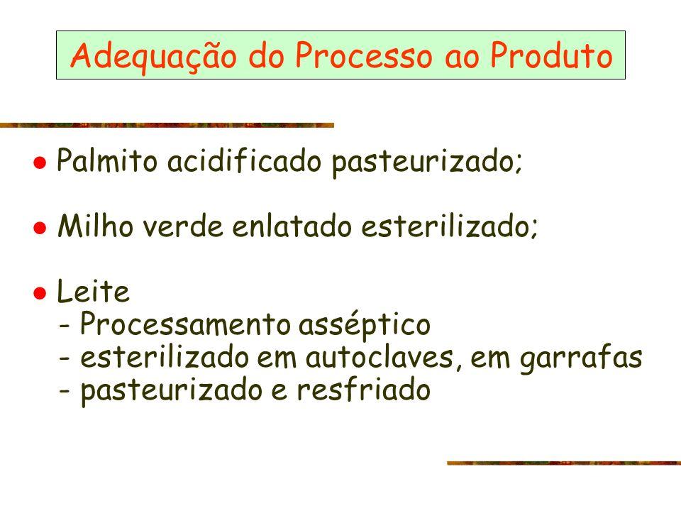 Adequação do Processo ao Produto Palmito acidificado pasteurizado; Milho verde enlatado esterilizado; Leite - Processamento asséptico - esterilizado e