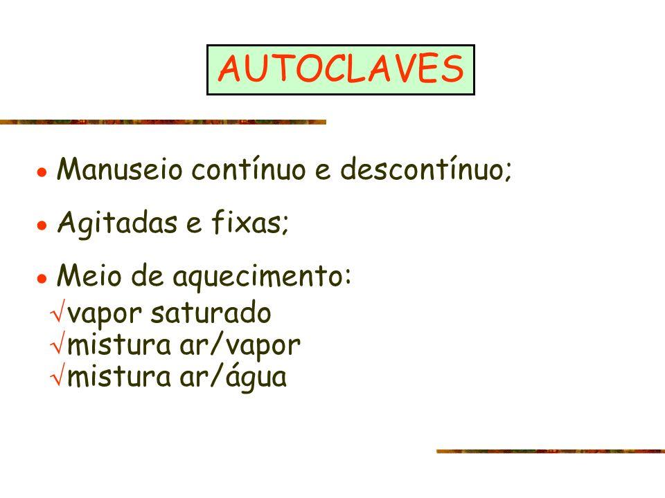 AUTOCLAVES Manuseio contínuo e descontínuo; Agitadas e fixas; Meio de aquecimento: vapor saturado mistura ar/vapor mistura ar/água