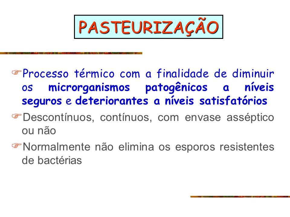 PASTEURIZAÇÃO Processo térmico com a finalidade de diminuir os microrganismos patogênicos a níveis seguros e deteriorantes a níveis satisfatórios Desc